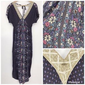 ONeill VNeck Maxi Dress Purple Tropical Floral XS